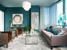 Beautiful Turquoise Room Ideas for Inspiration Modern Interior Design and Decor. Find ideas and inspiration for Turquoise Room to add to your own home. Living Room Turquoise, Navy Blue Living Room, Living Room Colors, Living Room Designs, Living Room Decor, Living Walls, Bedroom Colors, Blue Living Room Paint, Bedroom Yellow