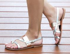 FREE SHIPPING-Rhodes Bronze/Silver- A classic Greek style sandal from Mediterranean Cyprus with metallic leather bronze and silver
