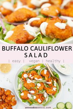 This vegan buffalo cauliflower salad is healthy, plant based and so easy to make! In addition, it's gluten free, dairy free and perfect as an appetizer or a meal! This vegan salad is made with my buffalo cauliflower wings and vegan ranch dressing recipes. You can also customize the ingredients and add your favorite salad toppings. You can also customize the ingredients and add your favorites #vegan #vegansalad #vegandinner #veganappetizer #cauliflowerrecipes #cauliflowersalad #buffalosalad