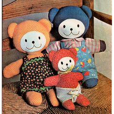 1970s Toy Bears With Clothing Vintage Sewing by BessieAndMaive, $10.00