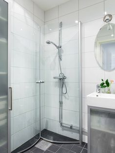 Bathroom With Shower And Bath, Small Shower Room, Bathroom Shower Panels, Small Bathroom Layout, Very Small Bathroom, Small Showers, Bathroom Basin, Laundry In Bathroom, Shower Doors