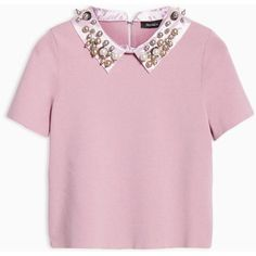 MAX&Co. Slim jumper with jewelled collar ($185) ❤ liked on Polyvore featuring tops, sweaters, pink, slimming tops, pink top, short sleeve tops, jeweled collar sweater and jumper top