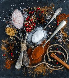 Spoons full of festive spices