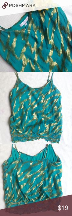 😎🌴Hot Miami Collection...Coreylynncalter Top Cute top  from the Miami collection by coreylynncalter... Anthropologie  This top is preloved and cute with a variety of styles! The liner is 100% silk and the outer 100% Rayon, fun gold accents with adjustable straps, and bra liner makes this a summer favorite😎 designer without the price! Dry clean only, the kits from local walmart work great:) Anthropologie Tops Blouses