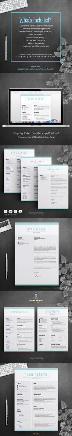 CV Resume Word Clean Resume Pinterest Resume words, Psd
