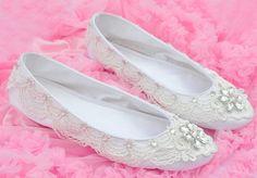 White Handmade Hard bottoms custom crystal  Bridal flats wedding shoes. $129.99, via Etsy.