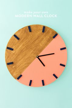 Learn how to make your own minimal and modern color blocked wall clock!