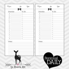 SUPER ORGANIZED Daily Schedule Printable for your personal Filofax or other Planner or Organizer! Instagram: @hersweetlife  Filofax Printable Blank Daily PAGE per DAY Schedule ToDo Personal Size PDF - Hearts Bows Instant Download