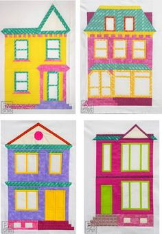 Quilt Inspiration: Free pattern day! House quilts. Houses Mini Quilt Along, free Victorian house patterns by Karolina Bąkowska at B Craft