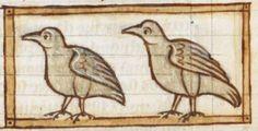 Bird detail from medieval illuminated manuscript, British Library Harley MS 3244, 1236-c 1250, f55r