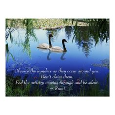 Rumi - Observe the wonders as they occur around you. Don't claim them. Feel the artistry moving through and be silent - photo plaque Rumi Love Quotes, Nature Quotes, Wise Quotes, Qoutes, Inspirational Quotes, Quotations, Motivational, Kahlil Gibran, Carl Jung