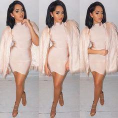 ✨Wig: @evawigs ✨ ✨Faux fur coat: @ikrushcom ✨ ✨Dress: @hotmiamistyles ✨ ✨Heels: @gojane ✨