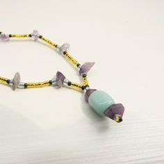 Seafoam + Amethyst Choker Necklace £4.29 - Beautiful beaded chokers - UNIQUE ONE OF A KIND JEWELLERY DESIGNS - Available now - https://www.etsy.com/listing/221706324/seafoam-amethyst-choker-necklace-only-1?ref=shop_home_active_6