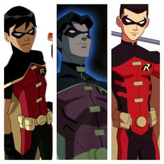 All the Robins in Young Justice Dick Grayson, Jason Todd, and Tim Drake