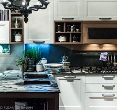 Innovative countertop design and strong use of color are hallmarks of luxury kitchen design - Milan 2014