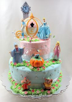 This cake is a re-creation of the classic Cinderella Story!   It was custom designed for a little girl's Cinderella themed Birthday Party....