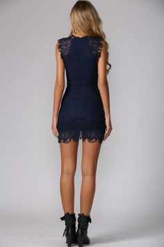 73f7e0d2fd01 Sleeveless navy dress. Crotchet detailing. High neckline. Invisible back  zip. Bodycon fit