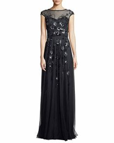 daa3ab72a74 Theia Designer Floral Vine Beaded Tulle Cap-Sleeve Gown Floral Gown