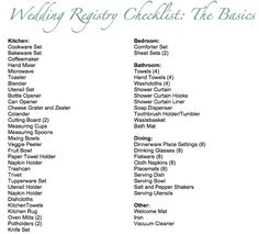 If you need basic items for your wedding registry, don't get overwhelmed by huge checklists. See our list of the basic items you need on your registry. Before Wedding, Wedding Tips, Fall Wedding, Our Wedding, Dream Wedding, Wedding Themes, Wedding Bells, Garden Wedding, Wedding Details