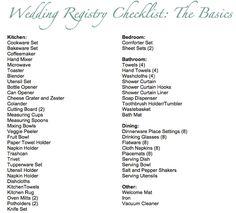 Basic Wedding Registry Checklist