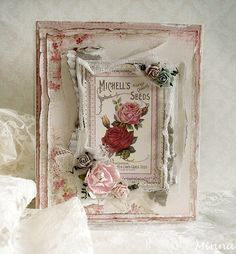 Rose card by Minna for Pion Design. Paper collection Vintage Garden