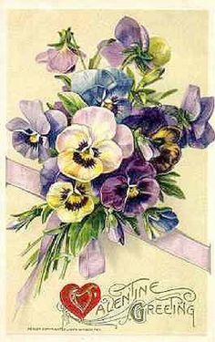 Valentine Greeting, Vintage Valentine with Pansies