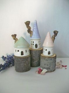 Fairy Houses - Pastel Colors by Suzanne of SuzannesPotteryFarm.