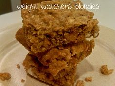 weight watchers blondies - 3pts each & no sugar substitutes! I hate how all these recipes are ok with using Splenda or other artificial sweeteners, but this one doesn't.