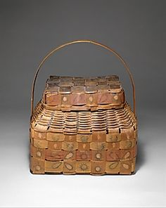 Lidded Basket Date: ca. 1840 Geography: United States, New York Culture: Onondaga Medium: Ash splint, wood, pigment Dimensions: H. 14 x W. 13 x D. 8 in. x 33 x cm) Native American Baskets, Native American Pottery, Indian Baskets, Nantucket Baskets, Vintage Baskets, Textiles, Weaving Art, Weaving Techniques, Basket Weaving