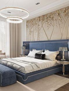 An amazing and mesmerizing design by Domoff Interirors! #designinspiration #designideas #interiordesign #interiorinspirations #designgoals #chandelier #bed #tablelamp #rug #bench Interior Styling, Interior Decorating, Interior Design, Modern Classic Bedroom, Luxury Furniture, Furniture Design, Family Room Design, Luxurious Bedrooms, Contemporary Interior