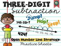 """""""Jump! Hop! Step!"""" Open number line strategy for subtracting three-digit numbers. Common Core standards 2.NBT.5 and 3.NBT.2"""