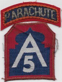 R-ORIG-WWII-5TH-ARMY-W-TAB-PARACHUTE-PATCH-ITALIAN-EMB-BEVO-WOOL-BULLION