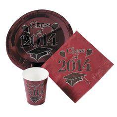 Class of 2014 Burgundy Graduation Tableware - OrientalTrading.com
