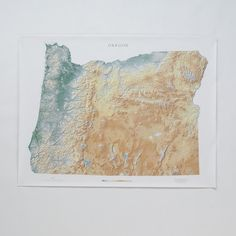 Topographic Oregon Wall Map ($58) ❤ liked on Polyvore featuring home, home decor, wall art, paper wall art, wall paper home decor, map wall art, schoolhouse electric and mounted wall art