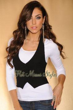 Black Halter Vest and white undershirt