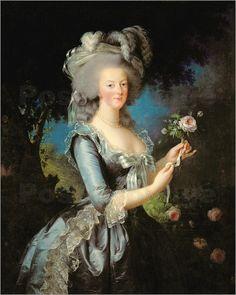 Die Epoche des Rokokos schloss sich direkt an die Zeit des Barocks an. Wie beispielsweise ein historisches Kunstposter von Marie Antoinette zeigt, war der Rokoko geprägt von sanften, bunten Farben und der Flucht in das Ländliche.