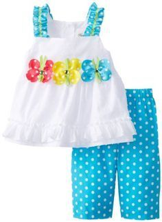 Discover thousands of images about Rare Editions Baby Baby Girls' White Turquoise Dot Legging Set, White/Turquoise, 12 Months Baby Girls, Baby Girl Dresses, Toddler Girl, Baby Baby, Little Girl Outfits, Toddler Outfits, Kids Outfits, Sewing For Kids, Baby Sewing