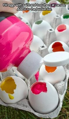 .Eggs filled with paint to throw and create artwork