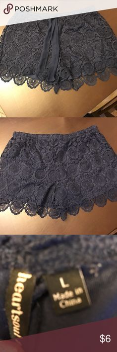 Heart soul size Large lace shorts Great used condition, I bought them from another posher but they seem to be more like a medium fit then a large . Navy lace , elastic waist . HeartSoul Shorts