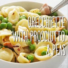 You can swap out ingredients in this simple weeknight dinner and use whatever you have on hand. Any short pasta will work here if you dont have orecchiette and you can use bacon smoked ham pancetta or even salame in place of prosciutto. Pea Recipes, Italian Recipes, Cooking Recipes, Healthy Recipes, Cooking Hacks, Easy Weeknight Dinners, Quick Meals, Prosciutto, Fall Dinner Recipes