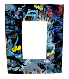 My DIY Batman & Catwoman Frame. Modge Pod Pieces of a Comic book to a cheap mat and insert in a frame!