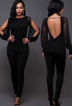 High Quality Mesh Long Sleeve Sexy Women Backless Party Jumpsuit Playsuit  Ladies Bodycon Romper Trousers Clubwear for woman 5951e30e2b82