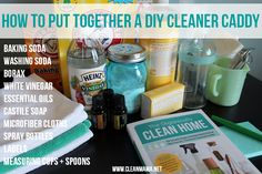 Cleaning supplies cleaning products Put together an all-natural cleaning caddy with simple ingredients. All sorts of fantastic ideas and resources via Clean Mama Homemade Cleaning Products, Household Cleaning Tips, Cleaning Recipes, Natural Cleaning Products, Cleaning Hacks, Natural Products, Cleaning Supplies, Cleaning Caddy, Green Cleaning