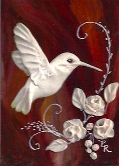 Hummingbird Hand Sculpted Cameo ACEO by Artist Paulie Rollins ༺ß༻