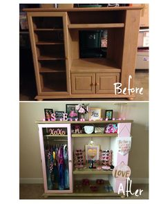 I transformed this old entertainment center into a fun dress up closet for my little 3 year old! #dressup #girlie #dresses #repurpose