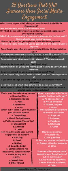 25 social media questions to increase engagement. #socialmedia #questions #increase #engagement #digitalmarketing