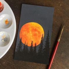 Cute Canvas Paintings, Small Canvas Art, Easy Canvas Painting, Simple Acrylic Paintings, Mini Canvas Art, Painting & Drawing, Diy Canvas, Moon Painting, Canvas Ideas