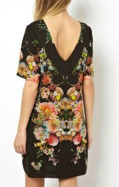 O-neck V-back Short Sleeves Shift Vintage Dress
