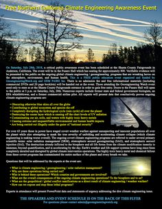 Exposing the climate geoengineering cover-up Climate Engineering, County Fairgrounds, Holistic Approach, Northern California, Public, World, Nature, Poster, The World