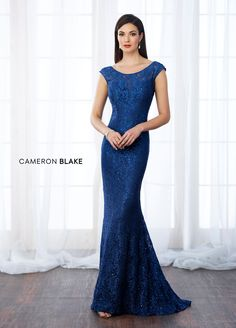 217644 - Lace fit and flare gown with scattered hand-beading features cap sleeves, illusion bateau neckline over sweetheart bodice, low square back, sweep train. Matching shawl included.